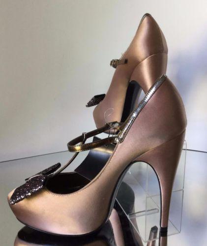 NEW LANVIN Satin Glitter-Bow T-Strap Pumps (Size 38) - MSRP $1,100.00!