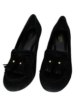 Coach Terri Black Suede Wedge Shoes Size US 9B - $62.98