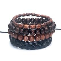 4pcs/set bamboo wood beaded wrap-around bracelet, Pull-Closure Genuine L... - €7,80 EUR