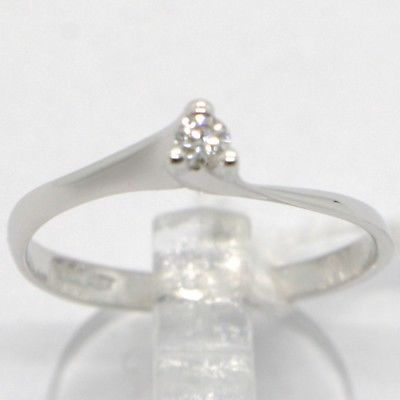 WHITE GOLD RING 750 18K, SOLITAIRE WITH DIAMOND CARAT 0.05, CRISS CROSSED, ITALY