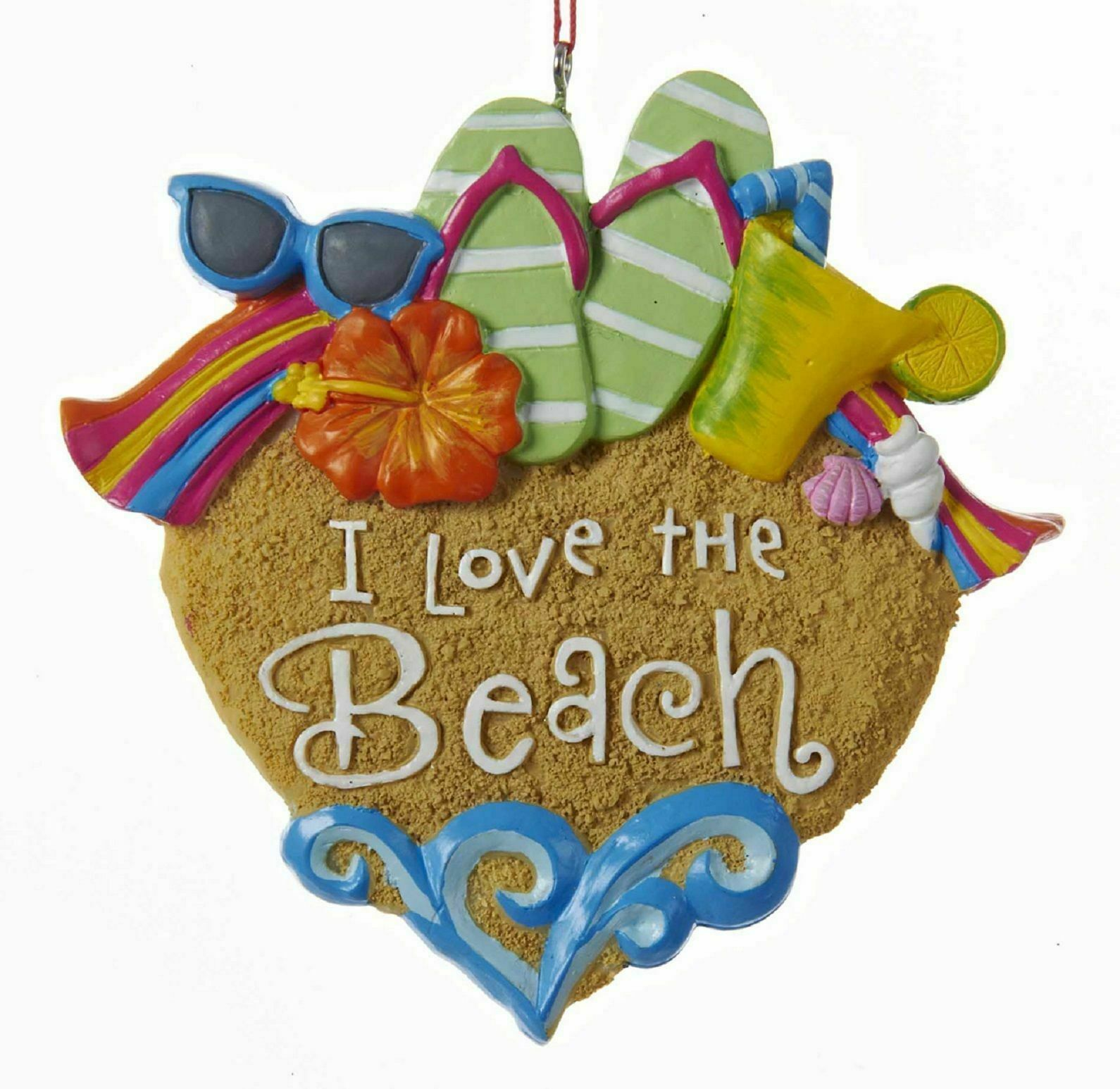 "Primary image for KURT ADLER ""I LOVE THE BEACH"" SAND HEART w/SUNGLASSES FLIP FLOPS XMAS ORNAMENT"