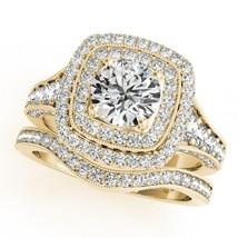 Womens Wedding Halo Bridal Ring Set 14k Yellow Gold Finish 925 Sterling Silver - $94.99