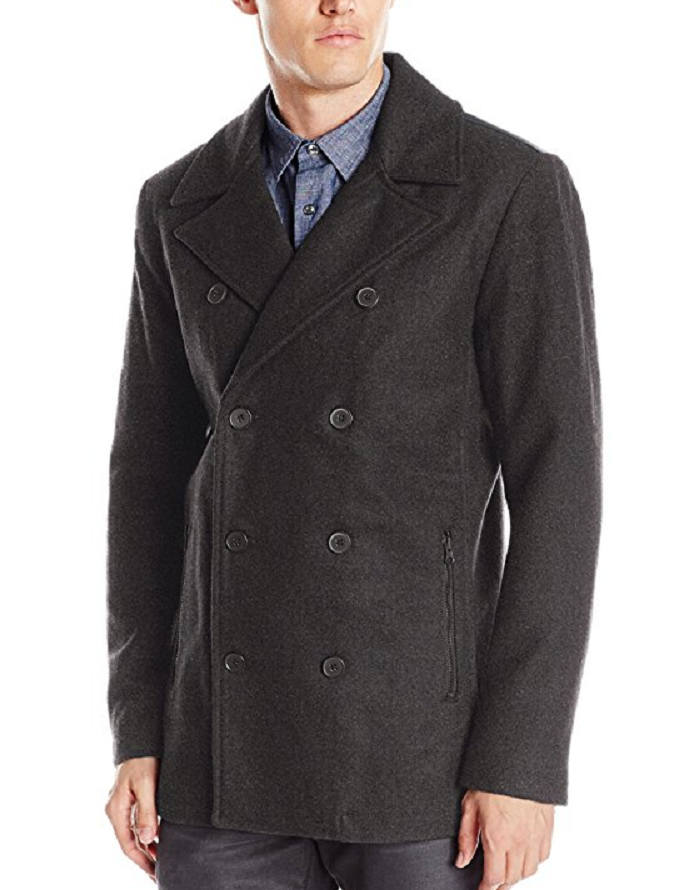Primary image for Kenneth Cole Reaction Men's Faux Leather Trim Pea Coat,Size L, MSRP $219.5