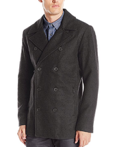 Kenneth Cole Reaction Men's Faux Leather Trim Pea Coat,Size L, MSRP $219.5 - $98.99