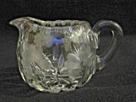 Elegant Etched Clear Glass Crystal Creamer Flower Floral Jug Pitcher ABP? - $9.25