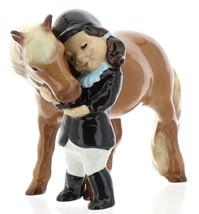 Hagen-Renaker Specialties Ceramic Horse Figurine Little Girl and Shetland Pony image 1