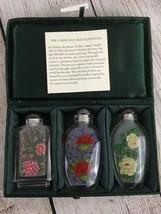 LI BIEN Decorative Bottles 3 In Case  Keepsakes Chinese Floral Paintings... - $23.71