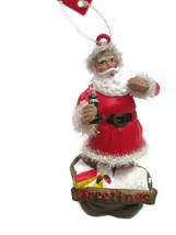 Coca-Cola Chiristmas Ornament Santa w/Bag of Toys Sparkling Trim - $6.19