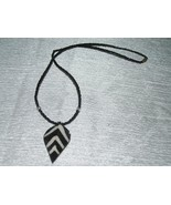 Estate Tiny Black Glass Bead with Rustic Striped Wood Leaf Pendant Neckl... - $7.69