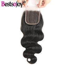 Bestsojoy 10A Brazilian Body Wave 4x4 Three Part Lace Closure Natural Black Braz image 7