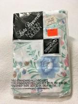 NEW Lady Peppernell Vtg Standard Pillowcase Set Folk Fest Floral Blue Ta... - $10.69