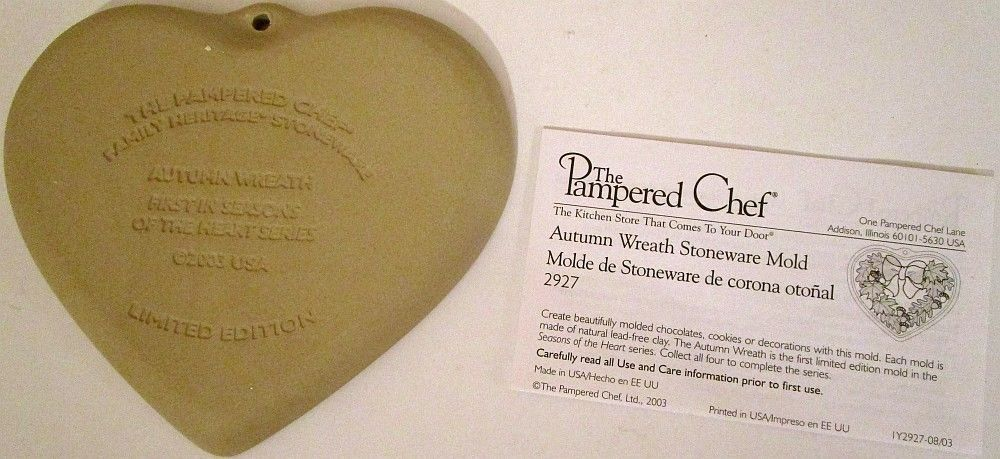 The Pampered Chef Autumn Wreath Stoneware Mold #2927 - NEW with recipes
