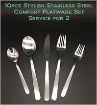 10pcs New Modern, Stylish & Classic Stainless Steel Flatware Set for 2 - $16.86