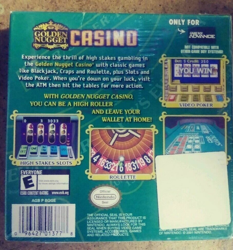 Golden Nugget Casino & Texas Hold'Em Poker GBA Nintendo Game Boy Advance. NEW