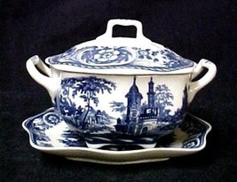 Blue Porcelain Covered Tureen With Tray Victorian Castle Toile Transferw... - $32.31