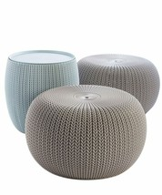 Modern Urban Knit Pouf Set Indoor Outdoor Furniture Elegant Design High ... - $134.23+