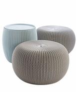 Modern Urban Knit Pouf Set Indoor Outdoor Furniture Elegant Design High ... - $137.00+