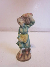 VINTAGE COMPOSITION & PLASTER HAND PAINTED SMALL YOUNG GIRL HOLDING BASK... - $9.99