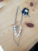 1129 Silver W/ White Beads Necklace Set (New) - $8.58