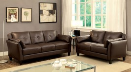 Andorra 2 Pieces Sofa Set Upholstered in Brown Leatherette - $998.00