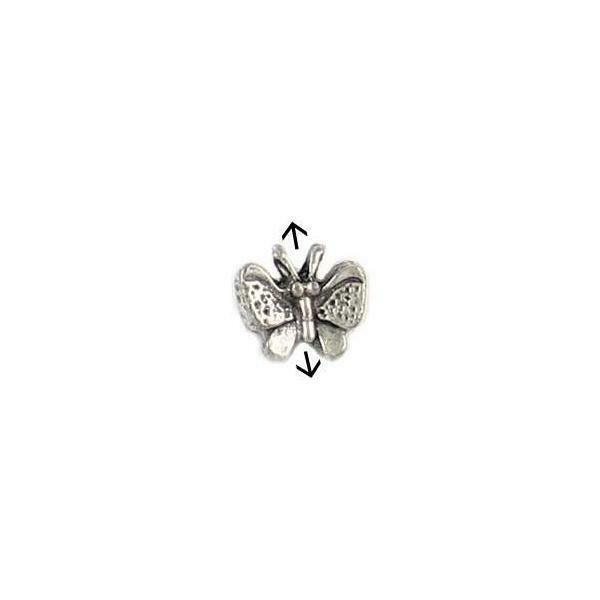 BUTTERFLY FINE PEWTER BEAD - 11x10x5mm; HOME 1mm