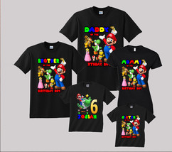 Super Mario Birthday Shirt Personalized  Custom T-Shirt Family Black t-s... - $19.95+