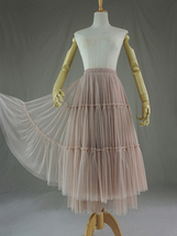 Adult Bridesmaid Tiered Tulle Skirt, Nude Pink Tulle Skirt with Belt,Photo Shoot image 10