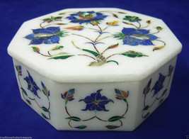 """4""""x4""""x2"""" Marble Jewelry Box Real Lapis Inlay Floral Work Marquetry Decor Gifts - $135.92"""
