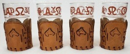 4 Libbey BAMCO 1950's HORSES WESTERN DRINKING GLASSES w/ TOOLED LEATHER ... - $39.99