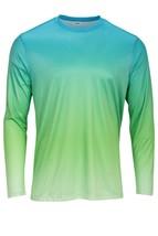 Sun Protection Long Sleeve Dri Fit  Aqua Blue Lime  base layer sun shirt UPF 50+ image 1