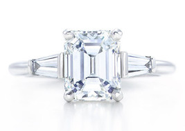 Classic Three Stone Emerald Cut Diamond Engagement Ring with Baguettes - $1,656.09