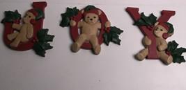 "3 Vintage Homco Plastic Christmas Joy Wall Hanging Bears Vtg Cute  4"" - $19.80"
