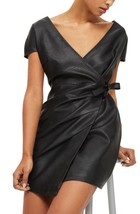 Real Leather Wrap  Dress Cocktail Party Women Black  Leather Dress - $185.00