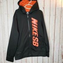 Nike Boys Therma Fit SKATEBOARD SB Zip Up Hoodie Black Orange Size L GUC - $13.86