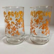 Libbey Style Juice Glasses 6oz Ombre Daisy pattern Orange to Yellow Shot... - $13.09
