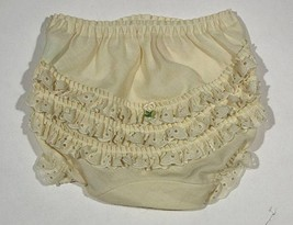 VINTAGE I.C. DIAPER COVER YELLOW RUFFLED  EYELET TRIM BLOOMERS INFANT 12... - $8.41