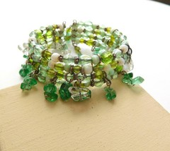 Retro Shades of Green Glass Gemstone Bead Fringe Wrap Cuff Bangle Bracel... - $14.44