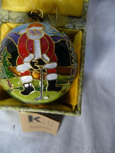 Golfing Santa Cloisonne' 24k Gold Plated Ornament by Kitty Keller