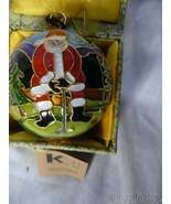 Golfing Santa Cloisonne' 24k Gold Plated Ornament by Kitty Keller - $49.95