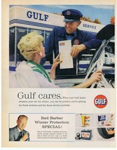 1960 GULF Oil Service Station & Attendant Red Barber Winter Protection P... - $9.99