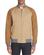 Michael Kors Men's Color-blocked Top-stitched Baseball Jacket Khaki Larg... - $138.59