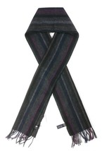NEW PAUL SMITH BLACK MULTI COLOR STRIPED 100% LAMBS WOOL SCARF(MADE IN E... - $79.19