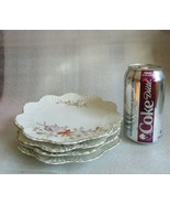 4 Antique Dessert PLATES HP RED Transfer w Assorted FLORAL & Shell Molde... - $34.60