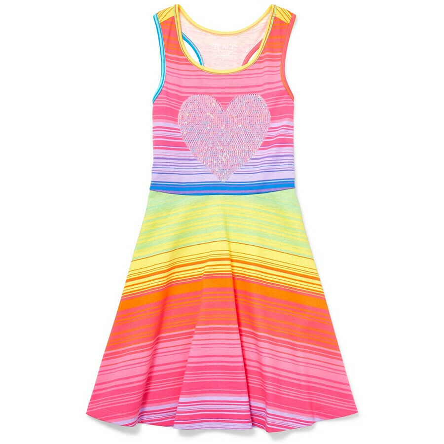 Primary image for NWT The Childrens Place Girls Flip Sequin Heart Rainbow Striped Sleeveless Dress