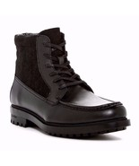 NEW Calvin Klein Mens Black Leather Lug Ankle Boots GARRY Lace Up Size 9 - $108.90