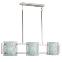 Contemporary Brushed Nickel Finish Pendant Island Kitchen Chandelier Etched Glas - $173.01