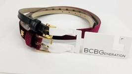 BCBG Womans Waist Thin Belts Large Red Velvet & Black  - $25.73