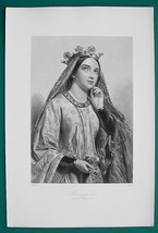 BERENGARIA Queen of England Wife of King Richard I - 1862 Antique Print - $12.60