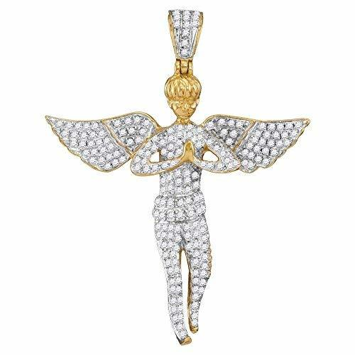 Primary image for 10kt Yellow Gold Mens Round Diamond Angel Wings Cherub Charm Pendant 1.00 Cttw