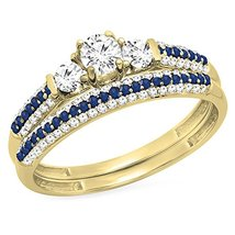 Three Stone Bridal Engagement Ring Set 14K Yellow Fn Cz Diamond & Blue Sapphire - $95.99